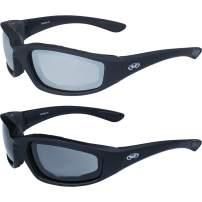 Two (2) Pairs Kickback Padded Motorcycle Sunglasses Black Frame Mirror Lens Smoke Lens