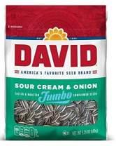 DAVID Sour Cream & Onion Jumbo Sunflower Seeds, Keto Friendly, 5.25-oz. Resealable Bag (Pack of 12)