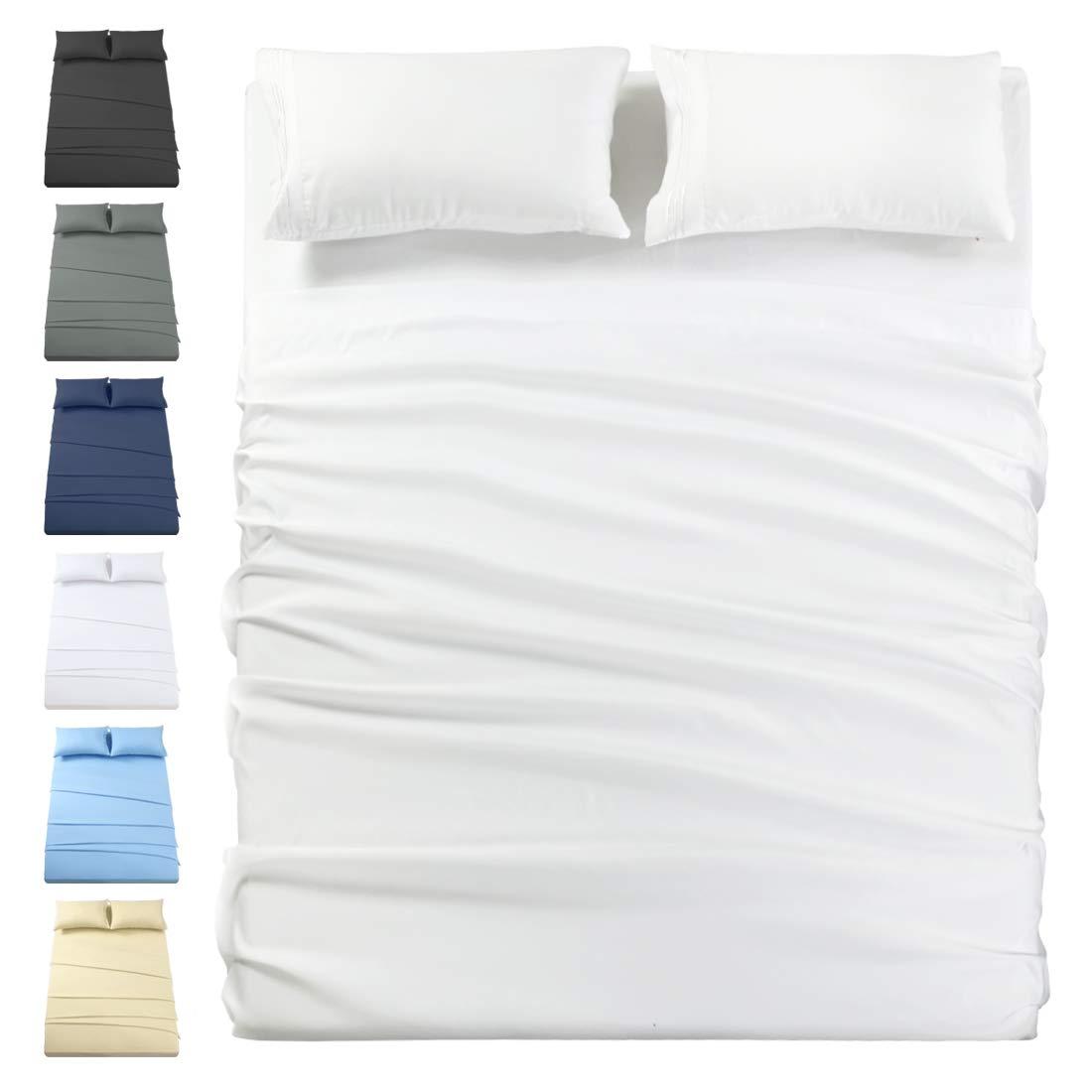 INGALIK Premium Bed Sheet Set 3 Piece 120 GSM Brushed Microfiber,1800 Series Hotel Luxury Bedding Sheets,Ultra Soft,Comfy,Fade Resistant,No Shrinkage,Hypoallergenic,Deep Pocket(White,Twin XL)