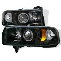 Spyder Auto Dodge Ram 1500/2500/3500 Black Halogen LED Projector Headlight