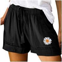 UOFOCO Women's Summer Casual Shorts Daisy Embroidered Drawstring Elastic Waist Short Pants with Pockets