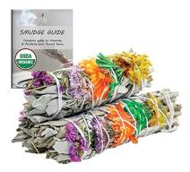 Good Vibes Floral Organic White Sage Smudge Sticks with Flowers 3 Pack for Cleansing Home, Meditation, Yoga, Healing and Smudging | Sustainably Sourced California White Sage Bundles