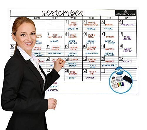 Dry Erase Wall Calendar by JTSCProducts -Jumbo 24x36 in Monthly Planner for Home, School and Office - Reusable Laminated Nano Premium PET Film -Bonus 6 Markers, Dry Eraser, Thumb pins and 3M Tape