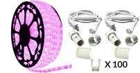 AQL Dimmable Pink LED Rope Light Premium Kit, 120 Volts, Full 360 Degrees LED 513PRO Diode, 150ft/Roll, Commercial Grade Indoor/Outdoor Rope Light, IP65 Waterproof