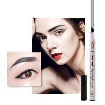 Official Eyebrow Tattoo Pen Music Flower Microblading Pencil with a Micro-Fork Tip Applicator Fine Sketch Super Durable Waterproof Smudge-proof (Black)
