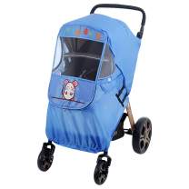 Spring Fever Baby Cartoon Universal Dual Zipper Sun Shade Storage Bag Windproof Clear Rain Dust Cover Travel Stroller Weather Shield Blue