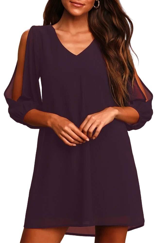 Jusfitsu Women Summer Dress Chiffon Cold Shoulder Shift Dresses Short Loose Fitting S to Plus Size Party Dress