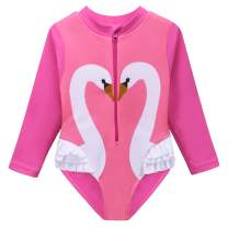HUAANIUE Baby/Toddler Girl Swimsuit Rashguard Swimwear Long Sleeve One-Piece