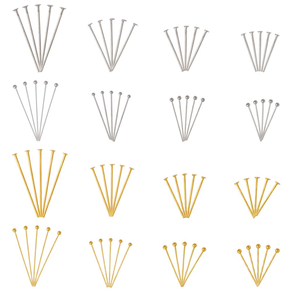 Kissitty 1600pcs/box Mix Flat Head Pins and Ball Head Pins 5 Sizes 18mm 20mm 24mm 25mm 30mm for Jewelry Making and Craft