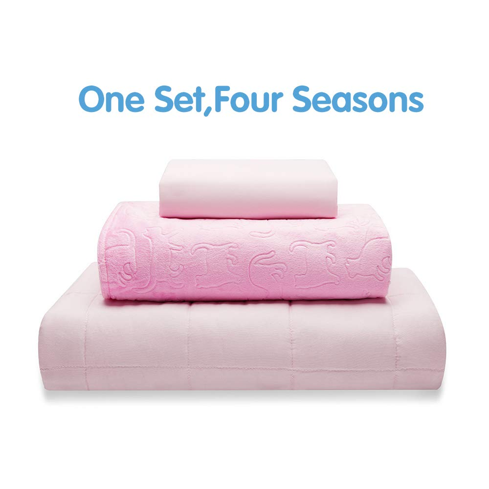"Thirdream Cool Weighted Blanket 10lbs Kids and Children, 3 Pieces,for All Seasons, 41""X 60"", Twin Size, with 2 Removable Washable Covers, Soft Minky Cover and Ice Silk Cover, Pink"