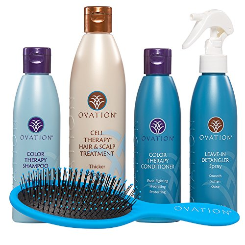 Ovation Healthy Hair Starter Kit with Cell Therapy - Get Stronger, Fuller & Healthier Looking Hair with Natural Ingredients - Includes Color Therapy Shampoo and Conditioner, Detangler, Wet/Dry Brush