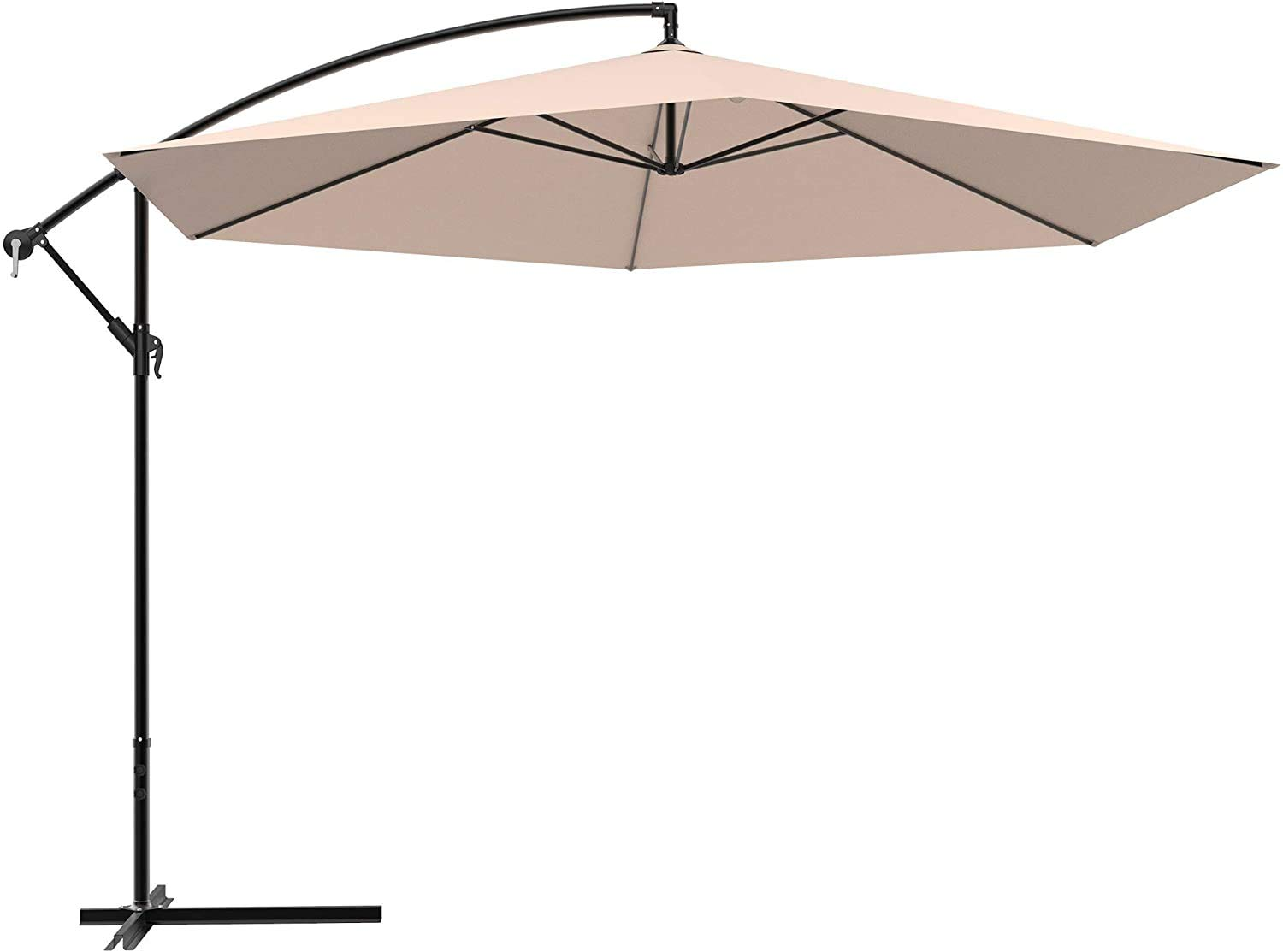 Diaotec Grand Patio 11 Ft/12 Ft Advanced Curvy Aluminum Offset Umbrella, Outdoor Cantilever Hanging Adjustable Umbrella Use for Pool, Yard, Beach and Cafe