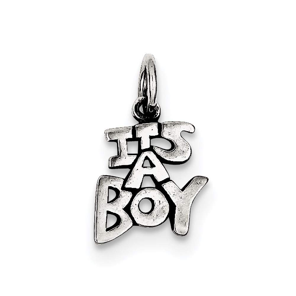 925 Sterling Silver Antique Its A Boy Pendant Charm Necklace Baby Fine Mothers Day Jewelry For Women Gifts For Her