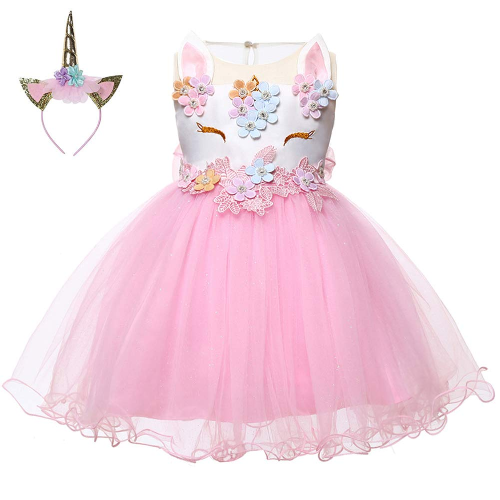 LZH Baby Girl Unicorn Flower Dress Bowknot Lace Birthday Party Baptism Gown Dress