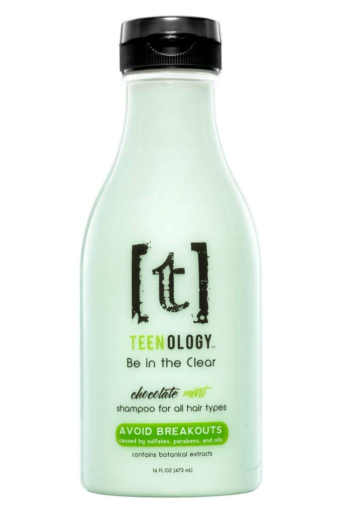 TEENOLOGY Shampoo for Teens - Avoid Forehead Acne and Breakouts - No Sulfates or Parabens, Noncomedogenic, Natural Botanical Extracts, Mint - 16 oz.