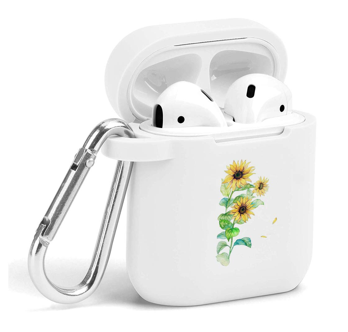 Case for Air Pods Sunflower - Soft Flexible Protector Silicone Holder Cover Cute with Keychain Accessories Compatible with Airpods Sunflower