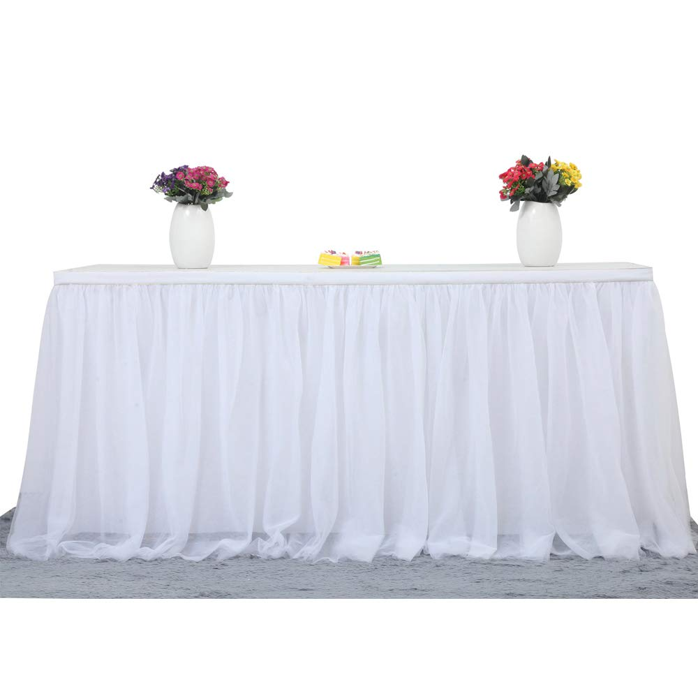 Suppromo 14ft White Tulle Table Skirt Tutu Table Skirt Decoration for Rectangle or Round Table for Party,Wedding,Birthday Party&Home Decoration,Table Skirting (L14(ft) H 30in, White)