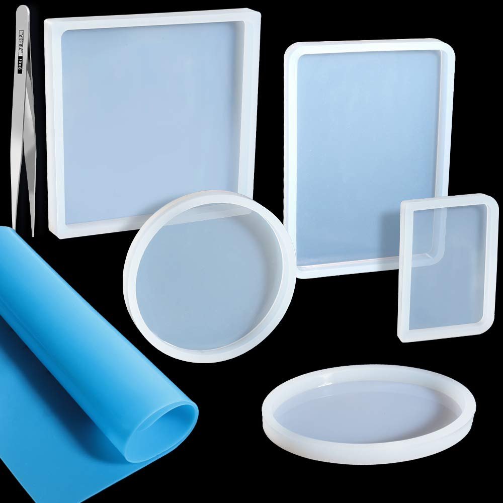 5 Pack Big Designs Resin Molds, Include Round, Square, Rectangle, Ellipse, Small Rectangle Shaped Jewelry Casting Molds, Coaster Molds, Come with 1PCS A4 Silicone Sheet and 1PCS Tweezer