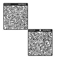 CrafTreat Stencil - Rose and Daisy with Leaf Background (2 pcs) - Reusable Painting Template for Home Decor, Crafting, DIY Albums, Scrapbook and Printing on Paper, Floor, Wall, Tile 6x6 inches