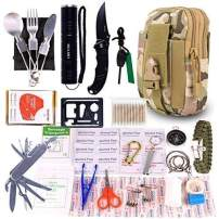GULAKI Survival First Aid Kit, 15 in 1 Outdoor Emergency Kits Gear Medical Supplies Trauma Bag for Camping Boating Hunting Hiking Home Car Earthquake and Adventures