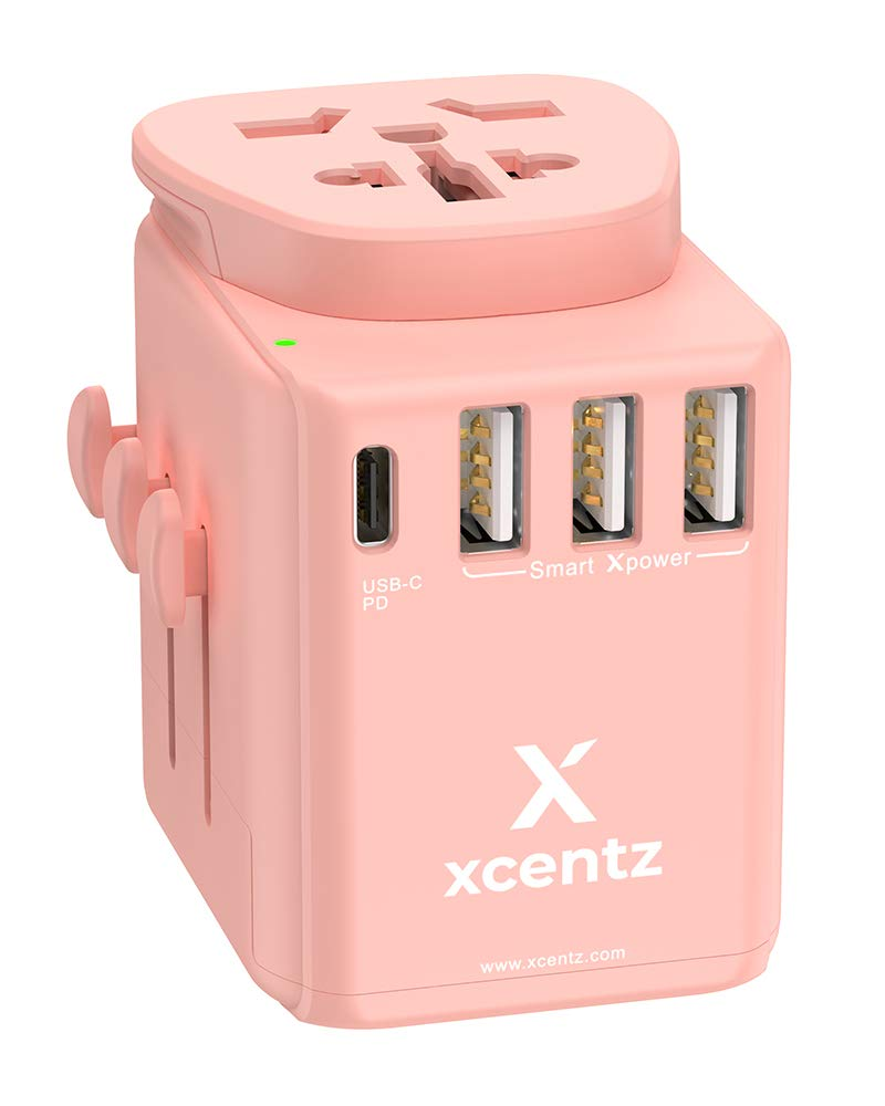 Xcentz Universal Power Adapter with 18W PD&QC 3.0 USB-C Port and 3-USB Port, 16A European Plug, 10A Wall Charger AC Plug Adapter, 3680W Travel Adapter EU UK AU US Cell Phone Tablet Laptop, Pink