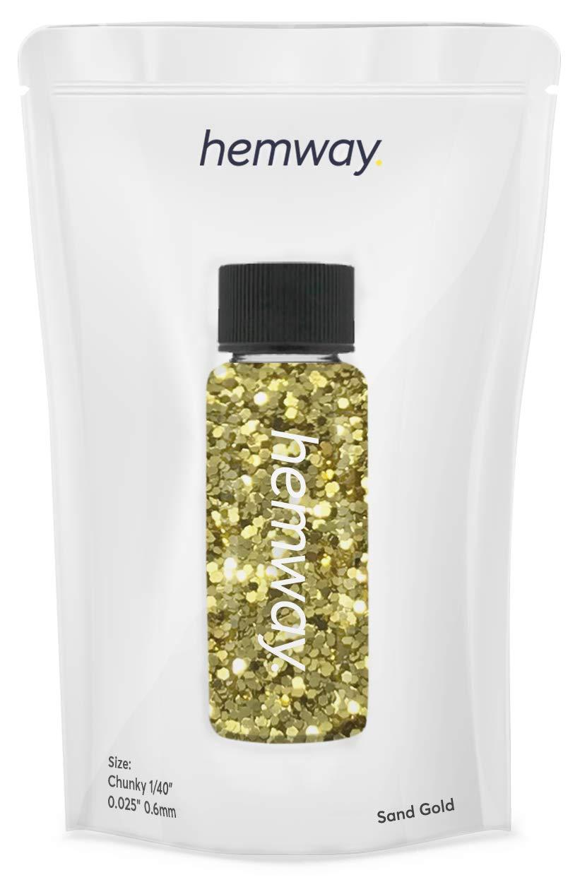 "Hemway Glitter Tube 12.8g / 0.45oz Extra Chunky 1/40"" 0.025"" 0.6MM Premium Sparkle Gel Nail Dust Art Powder Makeup Pigment Eyeshadow Face Body Eye Cosmetic Safe -(Sand Gold)"