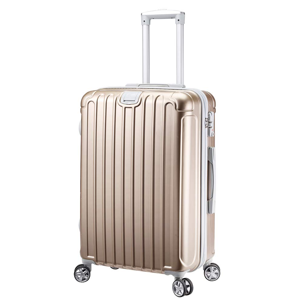NEWCOM Luggage 20 inch Carry On Hard Sell with Spinner Wheels TSA Lock Champagne Retractable Hanging Belt ABS+PC Lightweight Trolley Rolling Suitcase Hard-Side Added Retractable Hanging Belt