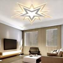 """LITFAD Modern Art Deco Dimmable LED Ceiling Light Creative Star Design 19.5"""" Flushmount Ceiling Lamp in White for Living Room,Children's Room,Kids Bedroom,UL Listed"""