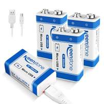 9V Rechargeable Li-ion Batteries with Micro USB Charging Port, Keenstone 650mAh Li-ion Battery, 4 Pack