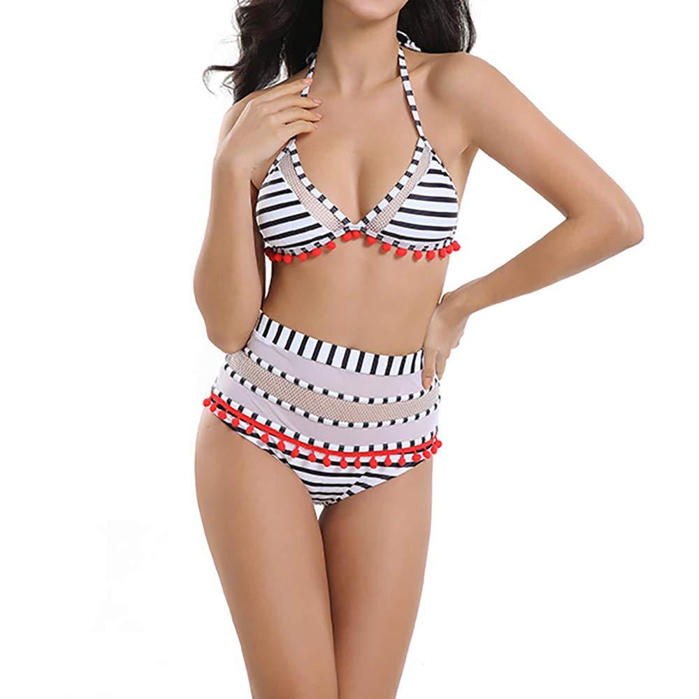 Xplanet Women's High Waist Two Pieces Bikini Set Padded Stripe Tassel Swimsuit Swimwear
