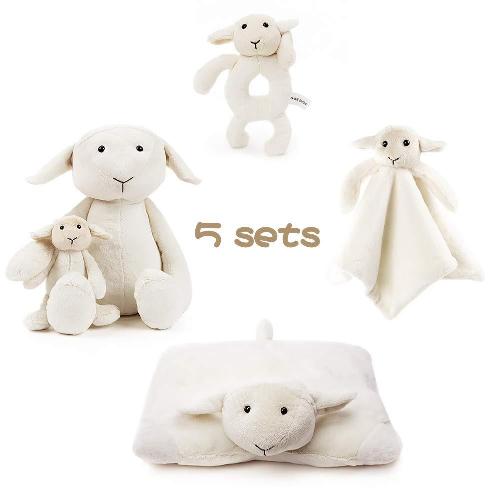 "FRANKIEZHOU Stuffed Sheep Animal Plush Toys 14"",Soft Ring Rattle,Baby Blanket,Stuffed Animal Plush Pillow White-Buy 1 Get 5 Best Gift for Kids"