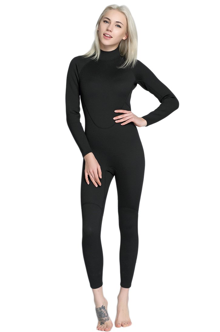 Micosuza Womens Full Wetsuits Premium Neoprene Long Sleeve Long Leg Back Zip for Diving Snorkeling Swimming