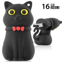 Bone Collection 16GB USB 3.0 Flash Drive, Novelty Cool Cartoon Character Design Silicone Enclosure Memory Stick Thumb Drive Jump Drive Pen Drive Pendrive for Students Kids - Black Miao Cat