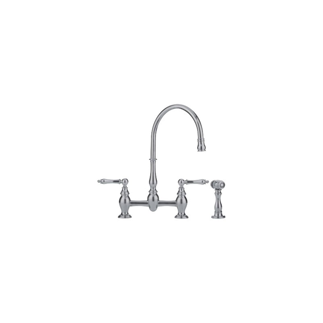 Franke FF6080A Farm House Two Handle Side-Spray Kitchen Faucet, Satin Nickel