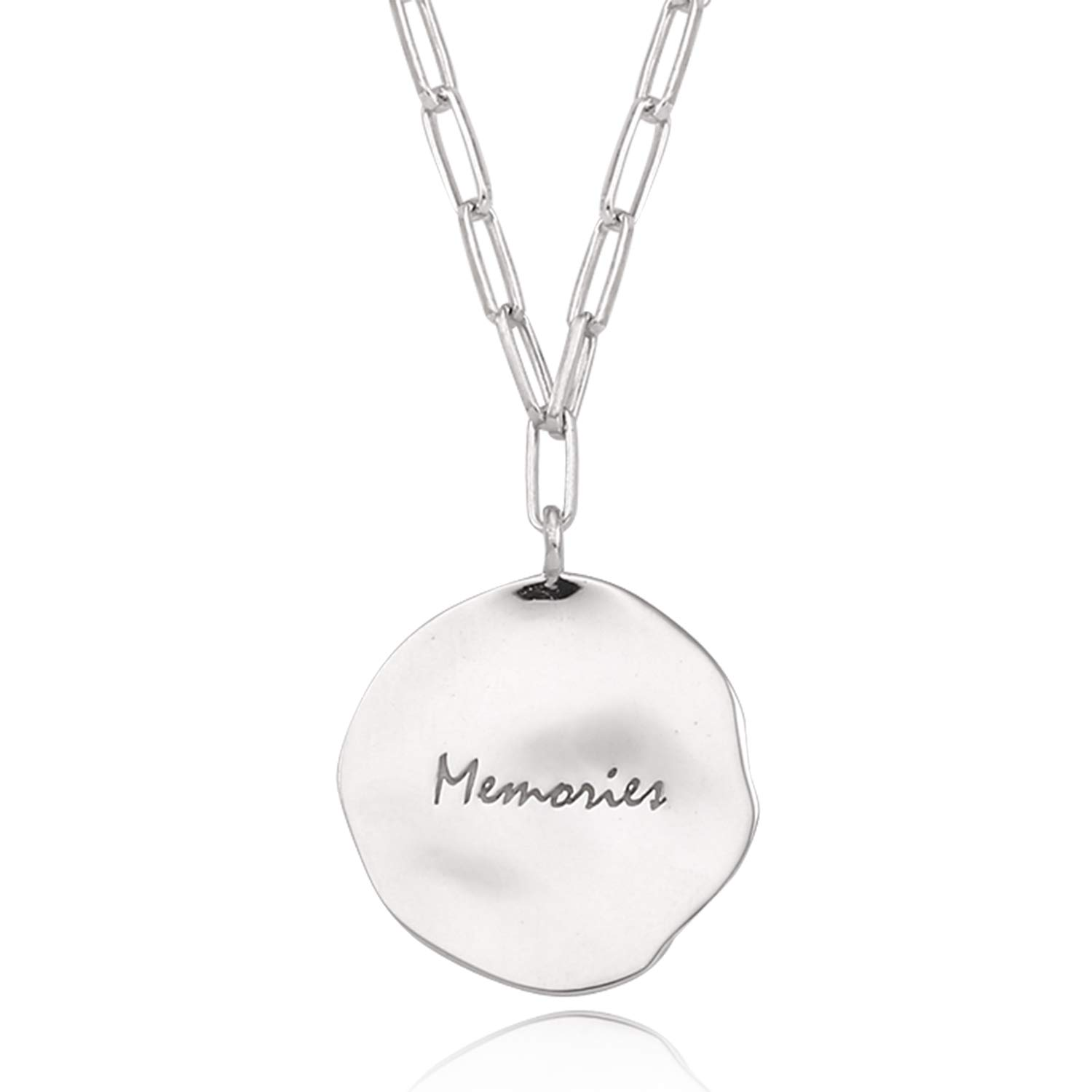 J.RAHEL 925 Sterling Silver Irregular Wrinkly Round Disc Engraved Pendant Link Chain Necklace for Women