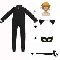 Shorafu Kid's Cat Cosplay Jumpsuit Boy's Girls Costume Black Cat Noir Cosplay Costume Halloween Party Masquerade