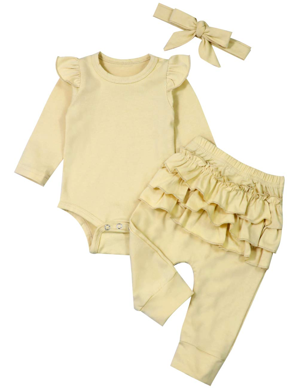 Newborn Baby Girl Clothes Long Sleeve Ruffle Romper Top Floral Pleated Pants with Headband 3PCS Set