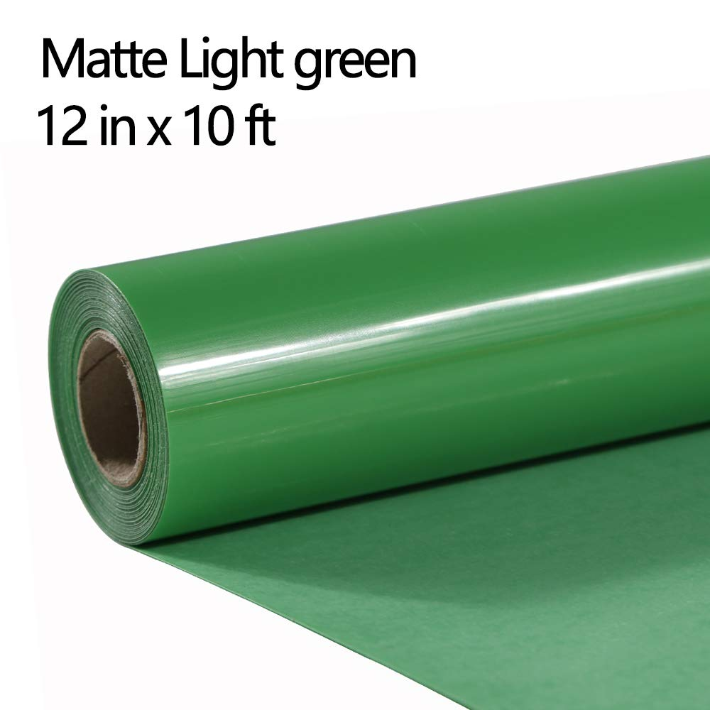 FUNKAKA Heat Transfer Vinyl Rolls Light Green Iron on Vinyl PVC 12 Inch X 10 Feet Matte No Adhesive HTV Easy to Cut & Weed (Light Green)
