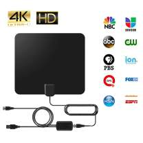 Digital HDTV Antenna (2020 Early Release), 50 to 80 Mile Amplified Range, 1080p & 4K UHD TV Compatible, 13ft Cable (Size-1)