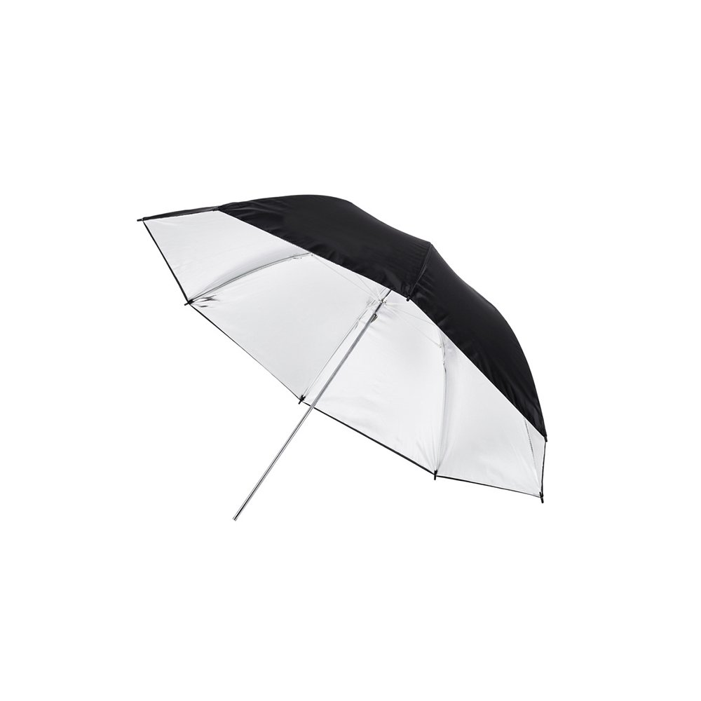 Fovitec - 1x 40 inch Silver Photography & Video Reflector Umbrella - [Easy Set-up][Lightweight][Cast-Iron][Collapsible][Durable Nylon]