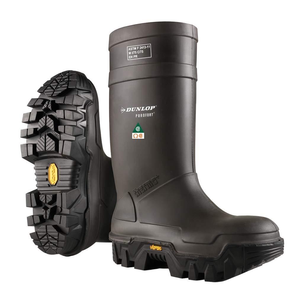 Dunlop E90203314 Explorer Thermo Full Safety Boots with Slip-Resistant Vibram Rubber Sole and Steel Toe, 100% Waterproof Purofort Material, Lightweight and Durable Protective Footwear, Size 14