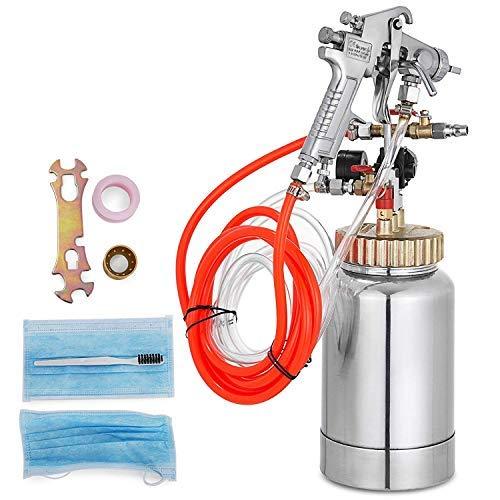 VEVOR Pressure Pot Tank 2L Pressure Pot Paint Sprayer 0.5 Gallon Pressure Spray Gun with Regulator (2L 2.0mm)