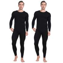 MANCYFIT Thermal Underwear for Men Long Johns Set Fleece Lined Winter Base Layer 2 Pack