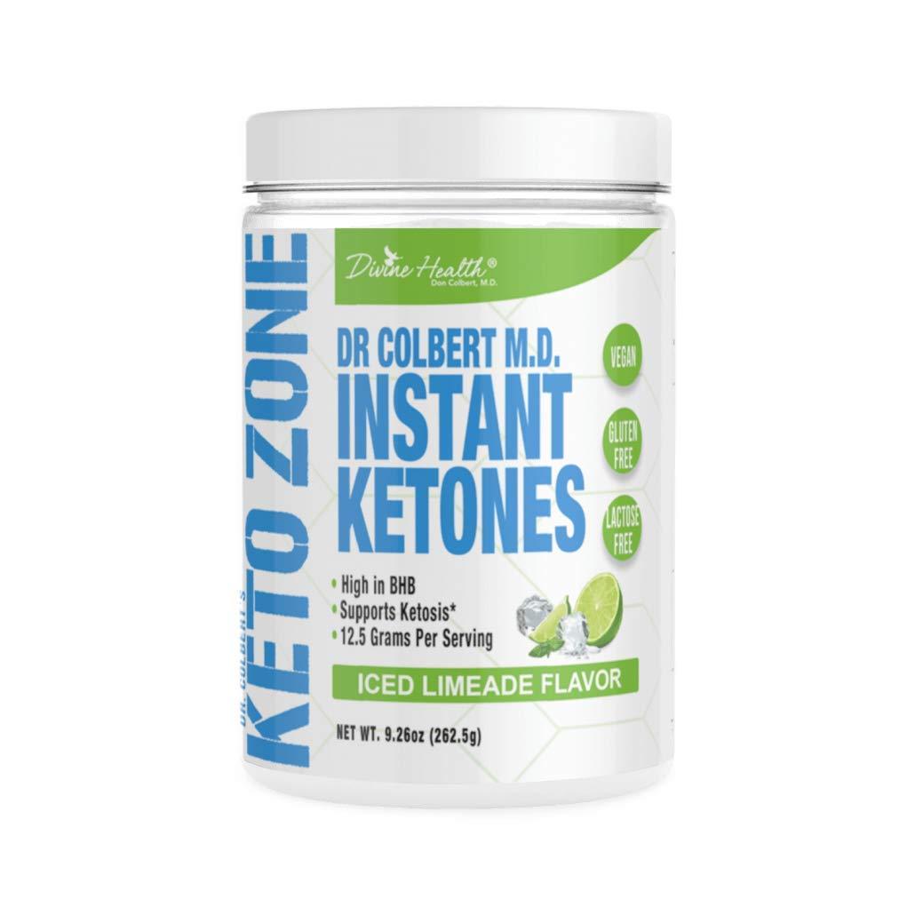Dr.Colbert's Keto Zone Instant Ketones Powder | Limeade Flavor | Exogenous Ketones Powder | Ketone Salts | 12g BHB Powder per scoop (Beta-Hydroxybuturate) | Recommended in Dr. Colbert's Keto Zone Diet