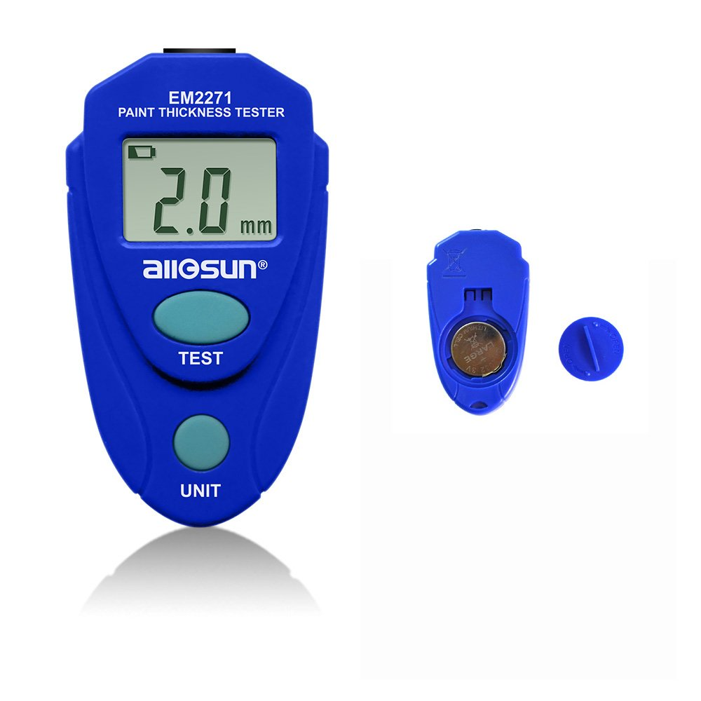 allsun Thickness Gauge Paint Meter Paint Thickness Meter for Car Automotive Tool Auto Digital Calibration Data Hold Mini Size with LCD Display