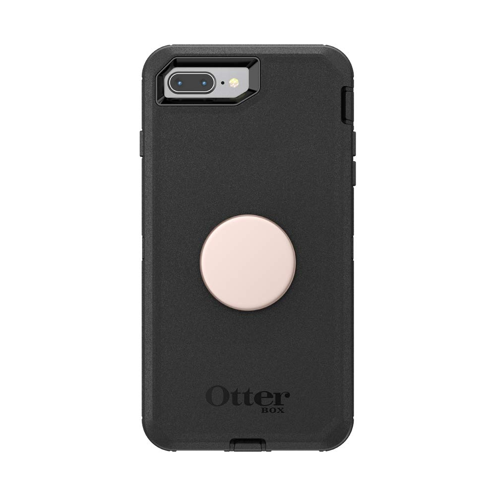 Otter + Pop for iPhone 7+ and 8+: OtterBox Defender Series Case with PopSockets Swappable PopTop - Black and Aluminum Rose Gold
