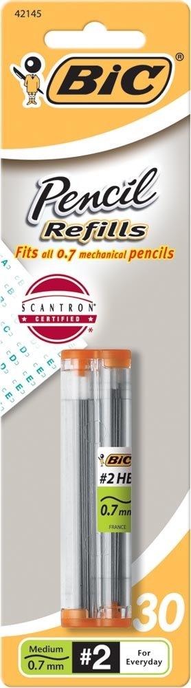 BIC Pencil Lead Refills, Medium Point (0.7mm), 30ct (L730P1),Black