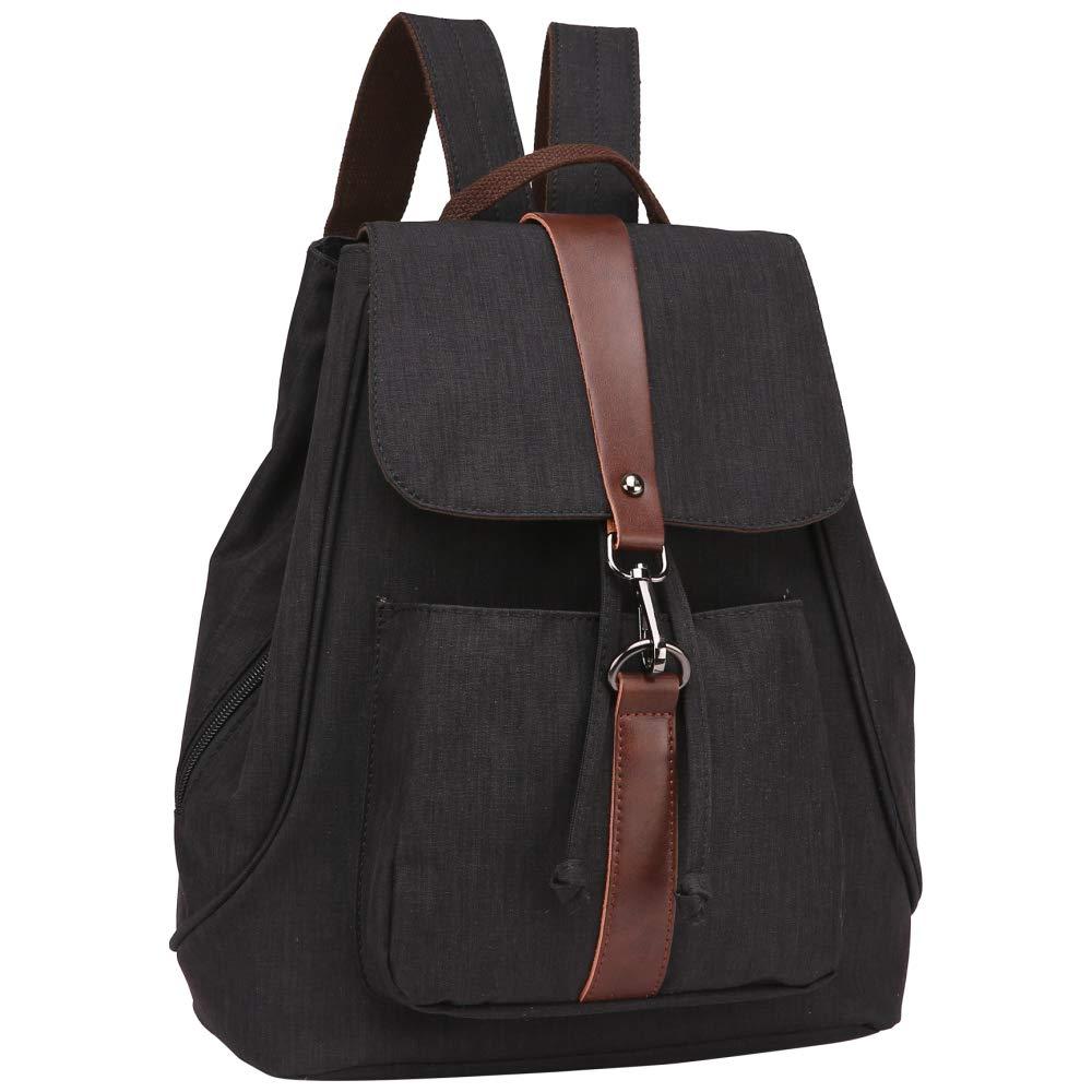 Backpack Purse, Packism Water Resistant Mini Backpack for Women Heavy Duty Messenger Bag Casual Shoulder Bag Daypack, Black