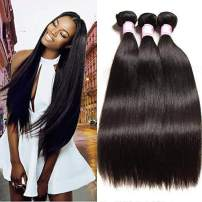 Beauty Forever Hair Brazilian Virgin Straight Hair Weave 3 Bundles 100% Unprocessed Human Hair Extensions Natural Color Can Be Dyed and Bleached (22 24 26)