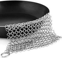 Peakally Cast Iron Skillet Cleaner,316L Stainless Steel Chainmail Scrubber,8 * 6''Premium Chain Cookware Cleaner for Skillet, Wok, Pot, Pre-Seasoned Pan Dutch Ovens,Anti-Rust and Great Scrubbing Power